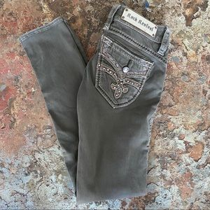 Rock Revival Skinny Jeans 28 Olive Green Keris